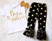 Gold Big Sister shirt, Personalized Birthday shirt, Big Sister outfit, Baby First Birthday Shirt, metallic gold dot ruffle pants, Pink Gold