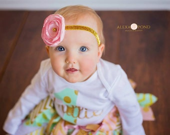 Light pink and gold flower headband, Pink gold Birthday headband, Hot Pink gold headband, Coral and gold headband, Gold elastic, flower clip