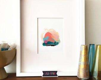 Bright abstract landscape art print (tiny size)