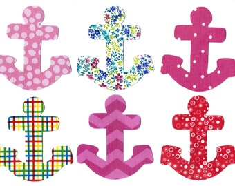 6 Iron on anchor miniature appliques DIY