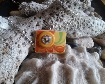 Repurposed Rummikub Tile with Marbled Paper Pendant