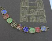 Vintage Paris Bracelet Antique Souvenir Bracelet enamel Bracelet Paris sites