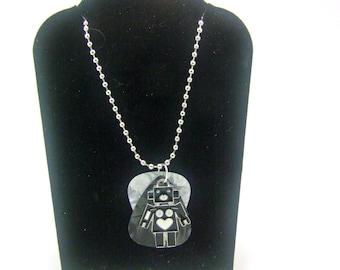 Guitar Pick Necklace, Robot Necklace, Rocker Necklace, SciFi Necklace, Gifts Under 20, Unisex Necklace