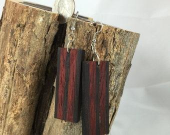 Wenge and Padauk Wood Earrings - The Phoenix Collection