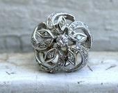 Lovely Floral Vintage 14K White Gold Diamond Ring - 0.58ct.
