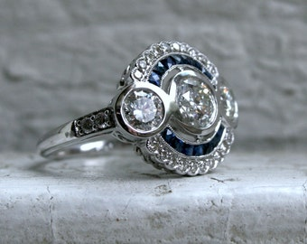 Vintage Three Stone Diamond Halo Style Engagement Ring in 14K White Gold - 2.72ct.