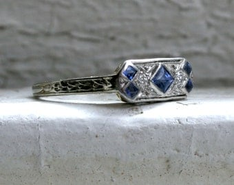 RESERVED - Gorgeous Vintage 18K White Gold Diamond and Sapphire Band Engagement Ring.