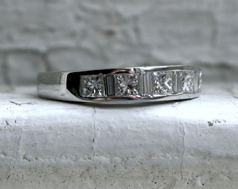 Classic Vintage Platinum Diamond Channel Wedding Band with Princess and Baguette Cut Diamonds - 0.92ct.