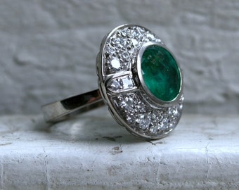 RESERVED - Stunning Retro Vintage 18K White Gold Diamond and Emerald Cluster Engagement Ring - 5.32ct.