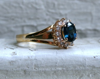 Lovely Vintage 18K Yellow Gold Diamond Halo and Sapphire Engagement Ring - 1.46ct.