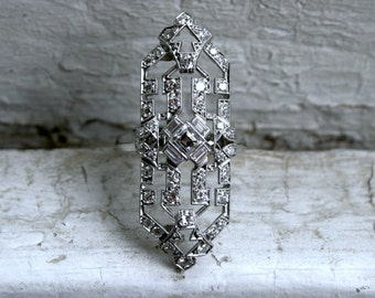 RESERVED - Gorgeous Vintage Long Platinum Diamond Ring - 1.35ct.