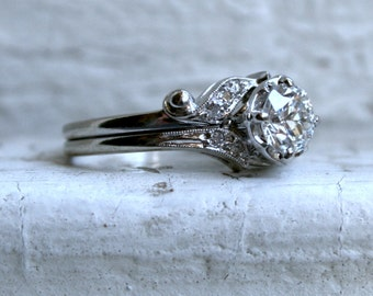 RESERVED - Deco Vintage 14K White Gold Diamond Engagement Two Ring Set - 1.10ct.