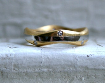 Vintage Modern Platinum/ 18K Yellow Gold Diamond Wedding Band.