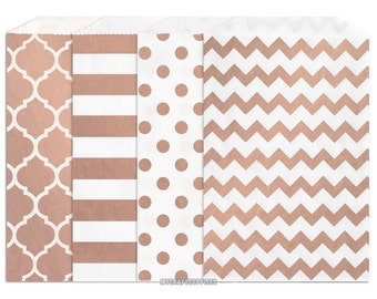 50 Assorted Rose Gold Metallic Paper Bags, 5 x 7.5 Inch Flat Paper Bags, Includes Moroccan Window, Stripe, Polka Dots, Chevron