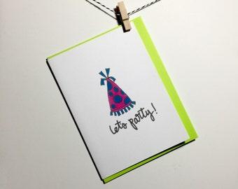 lets party. funny birthday card. Happy birthday. Birthday party. Birthday card. Party hat
