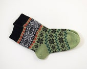 Knitted Wool Socks, Folk Pattern Socks - Green and Black, Size Extra Large