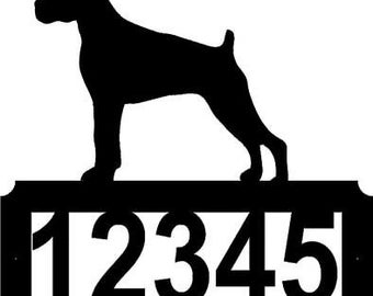 CUSTOM BOXER dog metal ADDRESS sign display home decor