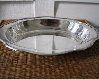 Vintage silver bowl, Sheffield silver, oval silver bowl