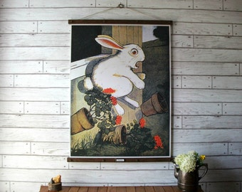 Tale of Peter Rabbit Book Illustration Chart / Vintage Reproduction / Canvas Fabric or Paper Print / Oak Wood Hanger with Brass Hardware