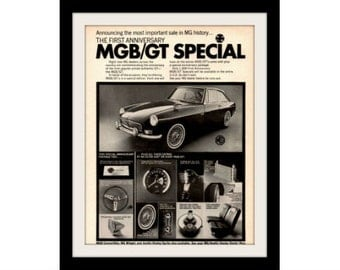 "1967 MG MGB GT Special Car Ad ""Anniversary"" Vintage Advertisement Wall Art Decor Print"