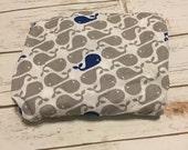 Gray & blue whale Crib Sheets