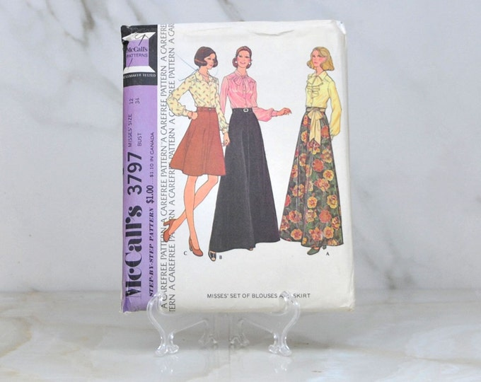 Vintage McCalls Uncut Pattern 3797 1973 Misses Set Of Blouses And Skirt Misses Size 12 Bust 34 - Sewing Pattern - Dress Making - Sewing