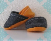 Felt Baby Slippers- Orange & Charcoal Grey Baby Shoes