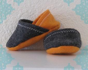 Felt Baby Slippers- Orange & Charcoal Grey Baby Shoes