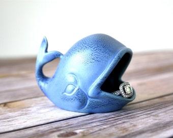 Ring Holder, Whale Ring Holder, Blue Engagement Ring / Wedding Ring Holder - Handmade ring dish from mid mod mold!  Ceramic ring holder