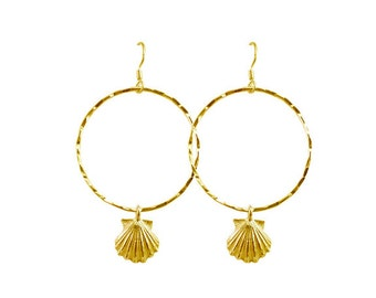 Small Lanikai Sunrise Shell Cast Hoop Earrings