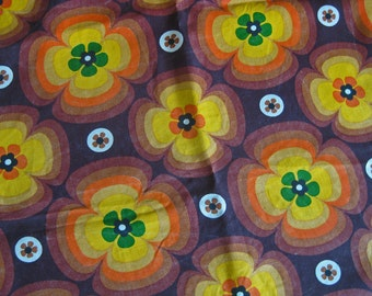 retro French fabric funky floral brown orange yellow and green flowers 1.5 meters