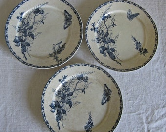 3 Sarreguemines Carmen plates with butterflies - French blue transferware