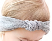 Baby Heather Gray Knit Turban, Gray Baby Headband, Gray Knot Bow Headband, Trendy Baby Headband, Modern Baby Accessories, Adult Turban