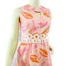 Vintage Maxi Dress Mod Retro Psychedelic Orange and Pink Empire Waist Size S Sm