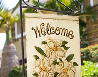 Magnolia Hanging Yard Sign with Iron Stake