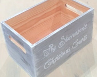 Rustic Christmas Card Holder Farmhouse Storage Crate For Mail Cards Personalized