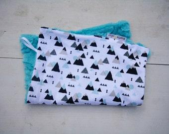 Baby Boy MINKY Lovey Blanket, MINI Minky Baby Blanket, Taggie Blanket, Baby Bedding, Baby Lovey Blanket, Mountains Blanket, Gender Neutral
