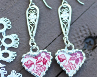 Earrings, Broken China Jewelry, Broken China Earrings, China Hearts, Red Transferware, Dangle Earrings, Sterling Sliver