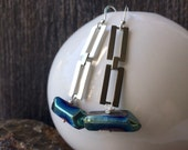 Silvertone rectangluar chain and seapunk titanium quartz crystal earrings