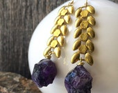 Vintage brass wheat chain and amethyst earrings