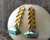 Vintage brass wheat chain and seapunk titanium Quartz earrings