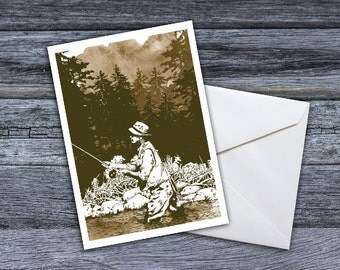 Fly Fishing - On the River Greeting Card