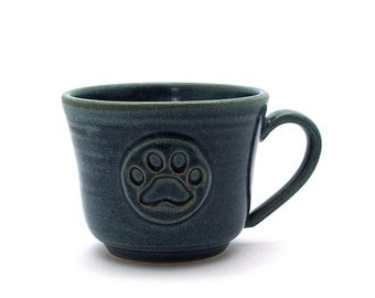 Paw Print Cup, Blue Pottery Coffee Mug, Ready to ship Pawprint Pet Lovers Handmade Pottery Gift by Miri Hardy Pottery