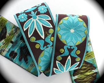 "Woven Ribbon - Mixed Pinwheel Zinnia 1 7/8"" Brown, Kiwi, Turquoise  MP50 - NEW ARRIVAL"