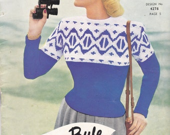 Twin Prufe Fashion Exclusive Designs Women, Men Knitting Pattern No 145 (Vintage 1950s) Original Pattern, Jumpers,Sweaters,Cardigans,Jackets