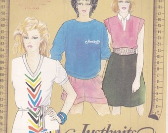 1980's Sewing Pattern - JustKnits Ladies Tops Size 8-24  Factory folded and complete