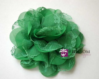 EMERALD GREEN Flowers - The Charlotte Collection - Small Shabby Chiffon and Lace Puff Flowers - DIY Headbands - Fabric Flower Head Blossoms
