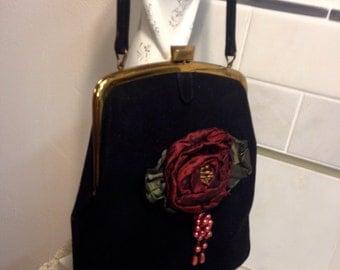 Vintage Black with Satin Rose