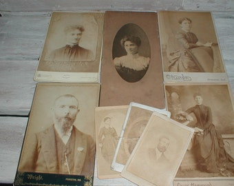 Eight Antique Photographs *Princeton Indiana* Cabinet Cards Cdvs *Photo Lot*