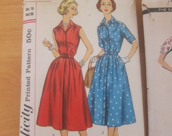 50s Vintage Sewing Dress Pattern Simplicity Size 16